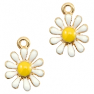 Basic quality metaal bedel daisy Gold-white