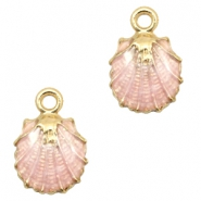 Basic quality metaal bedel shell Gold-light pink