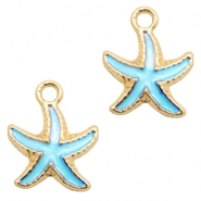 Basic quality metaal bedel seastar Gold-light blue