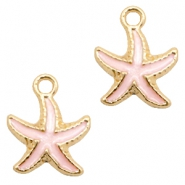 Basic quality metaal bedel seastar Gold-light pink
