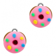 Bedels 1 oog fimo donut Pink-brown