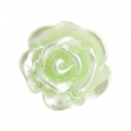 Roosje kralen 10mm Celery ice green-zilver coating