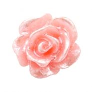 Roosje kralen 10mm Salmon rose-zilver coating