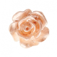 Roosje kralen 10mm Wit-peach nougat pearl shine