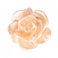 Roosje kralen 10mm Wit-light peach nougat pearl shine