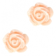 Roosje kralen 6mm Wit-fresh peach