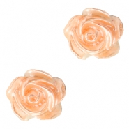 Roosje kralen 6mm Wit-fresh peach pearl shine