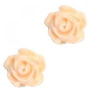 Roosje kralen 6mm Wit-apricot blush orange