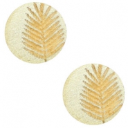 Cabochons hout varen 12mm Champagne metallic