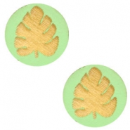 Cabochons hout blad 12mm Lizard green