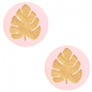 Cabochons hout blad 12mm Dark pink