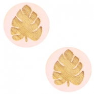 Cabochons hout blad 12mm Light pink