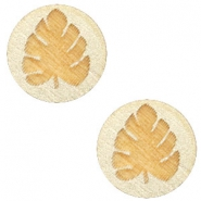 Cabochons hout blad 12mm Champagne metallic