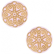Cabochons hout mandala 12mm Light lavender purple