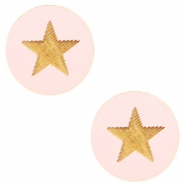 Cabochons hout ster 12mm Light pink