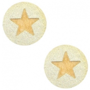 Cabochons hout ster 12mm Champagne metallic