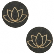 Cabochons hout lotus 12mm Black