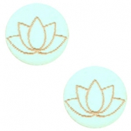 Cabochons hout lotus 12mm Turquoise