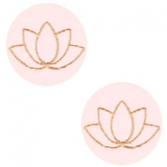 Cabochons hout lotus 12mm Light pink