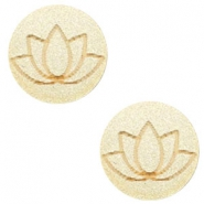 Cabochons hout lotus 12mm Champagne metallic