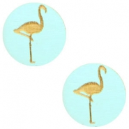 Cabochons hout flamingo 12mm Turquoise