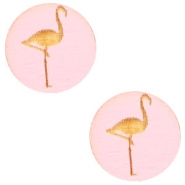 Cabochons hout flamingo 12mm Dark pink