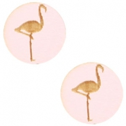 Cabochons hout flamingo 12mm Light pink