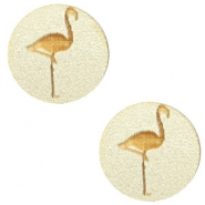 Cabochons hout flamingo 12mm Champagne metallic