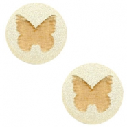 Cabochons hout vlinder 12mm Champagne metallic