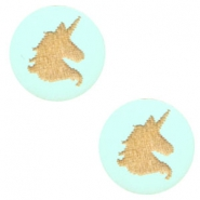 Cabochons hout unicorn 12mm Turquoise