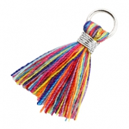 Kwastje 1.8cm Zilver-Multi colour red blue