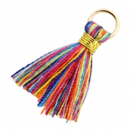 Kwastje 1.8cm Goud-Multi colour red blue