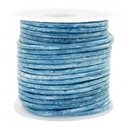 Leer DQ rond 3 mm voordeelrol Vintage barberry blue metallic