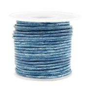Leer DQ rond 2 mm voordeelrol Vintage barberry blue metallic