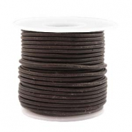 Leer DQ rond 2 mm voordeelrol Dark chocolate brown