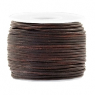 Leer DQ rond 1 mm voordeelrol Vintage chocolate brown