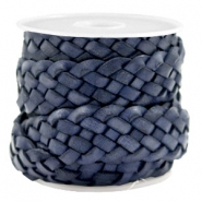 Plat 20 mm DQ leer gevlochten Dark blue