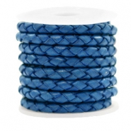 Leer DQ 4 draden rond gevlochten 4mm Antique blue