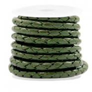 Leer DQ 4 draden rond gevlochten 4mm Army green metallic