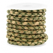 Leer DQ 4 draden rond gevlochten 4mm Medium olive green-vintage finish