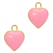Basic quality metaal bedel hart Deep gold-pink