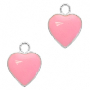 Basic quality metaal bedel hart Silver-pink