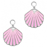 Basic quality metaal bedel schelp Silver-pink