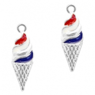 Basic quality metaal bedel ijshoorn Silver-red blue