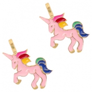 Basic quality metaal bedel unicorn Deep gold-pink