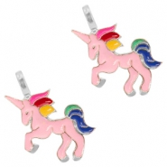 Basic quality metaal bedel unicorn Silver-pink