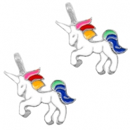 Basic quality metaal bedel unicorn Silver-white