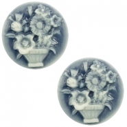 Cabochons basic camee 20mm boeket Dark blue-off white