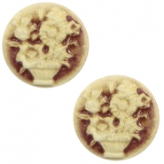 Cabochons basic camee 20mm boeket Brown-antique gold