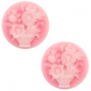 Cabochons basic camee 20mm boeket Pink-white